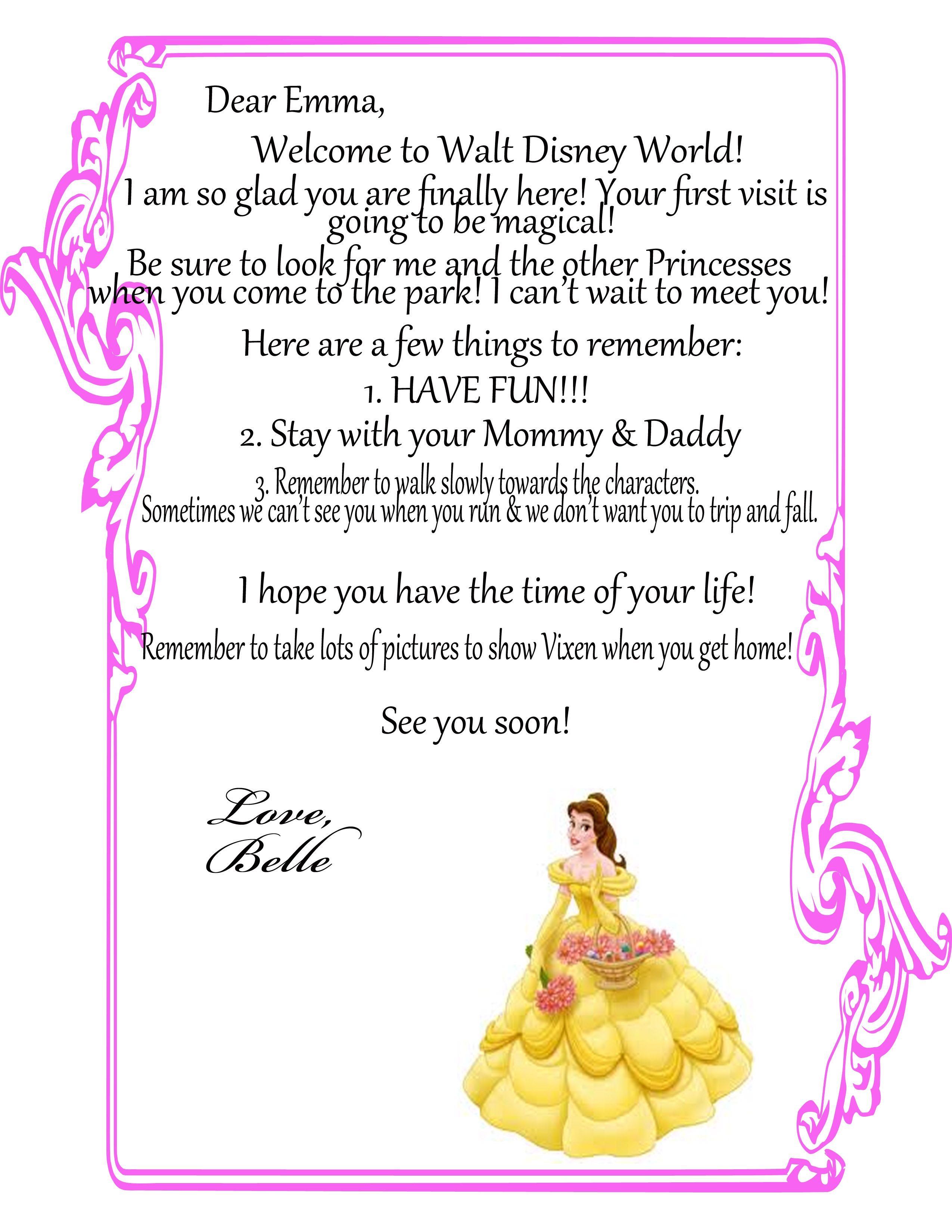 A Welcome Letter From Your ChildS Favorite Disney Character Have