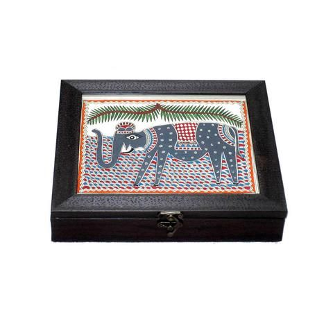Madhubani Hand Painted Elephant Box Folkbridge Com Buy Gifts