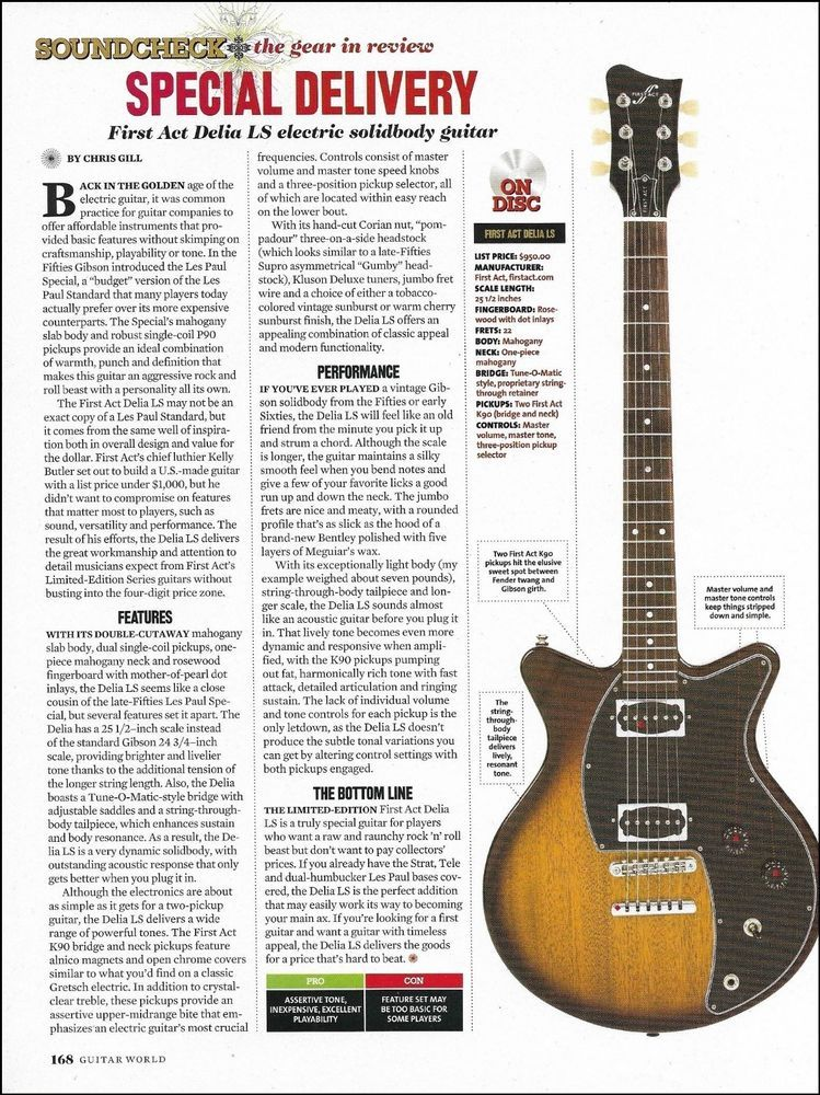 First Act Delia Ls Electric Solid Body Guitar 8 X 11 Sound Check Review Article Firstact