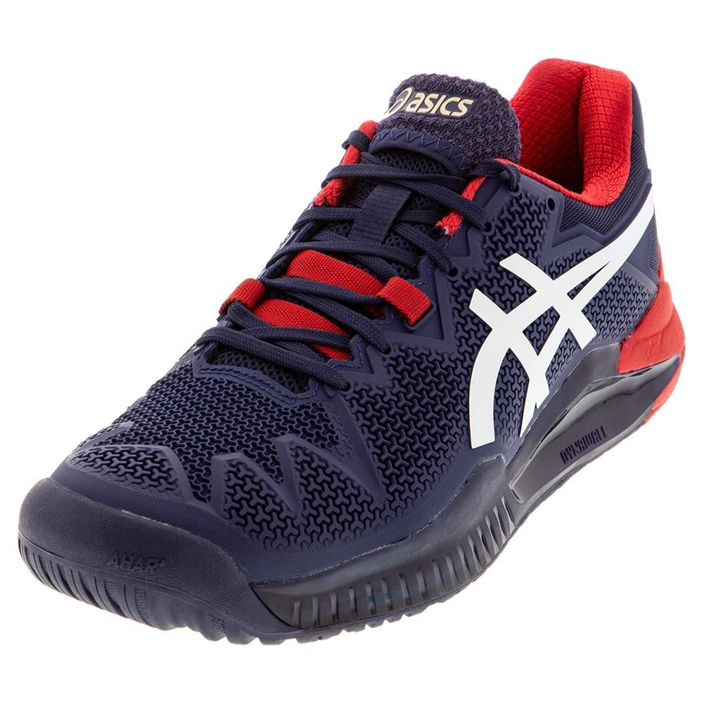 Asics Men S Gel Resolution 8 Tennis Shoes Peacoat And White 1041a079 400s20 In 2020 Tennis Shoes Asics Tennis Shoes Asics Men