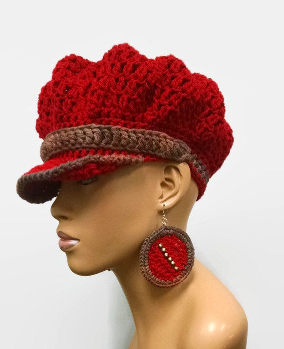 MADE TO ORDER Red and Earth Tones Beanie Newsboy Hat Beret  with brim strap  buckle (buckle may vary) 0e9e01a54006