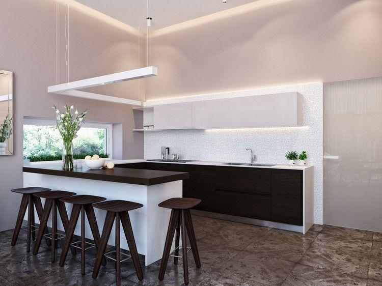 Küchentresen mit Barhockern -wengefarbene-barhocker-schwarz-weisse - led leisten küche