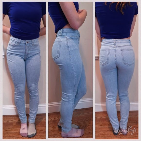 American Apparel Denim High Waisted Jean Light colored denim, high waisted. Brand new, never worn. Price is very negotiable. They run small, I am normally around a 26 but they fit fine. American Apparel Jeans Skinny