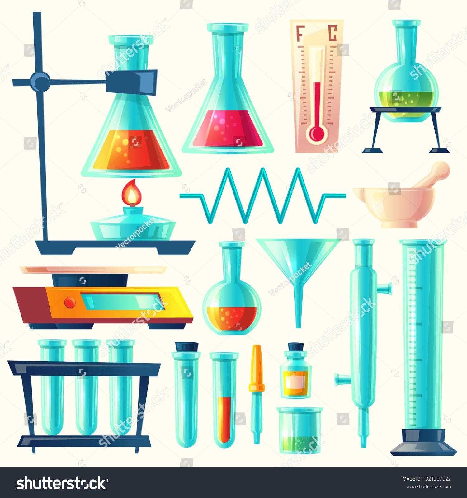 Vector Cartoon Laboratory Equipment Glassware Set
