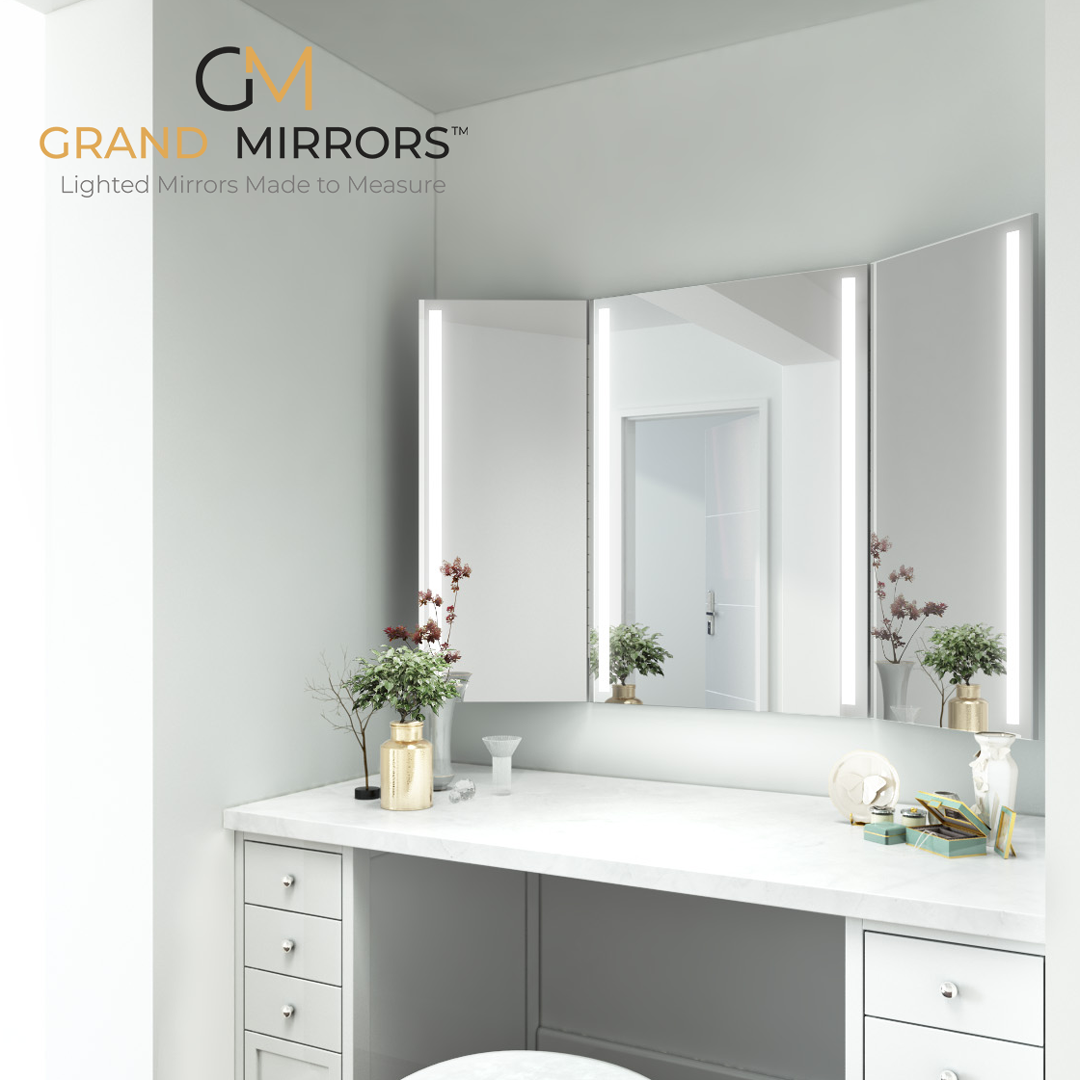 Integrated Light Mirrors Grand Mirrors Trifold Mirror Vanity Trifold Mirror Bathroom Trifold Mirror