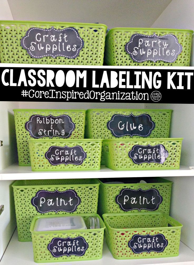 Chalkboard themed classroom labels. Every inch of my cabinets are organized with these labels.