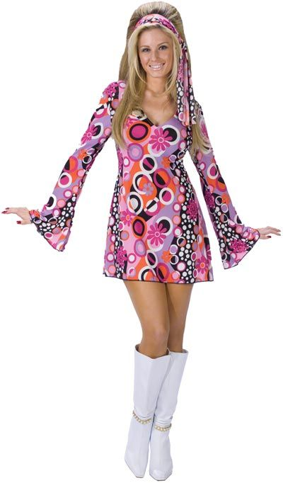 Size Small Ladies Flower Hippie Costume Adults 60s 70s  Fancy Dress Outfit