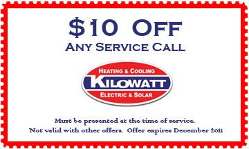 10 Off Coupon For Ac Service Call From Kilowatthvac Com Air