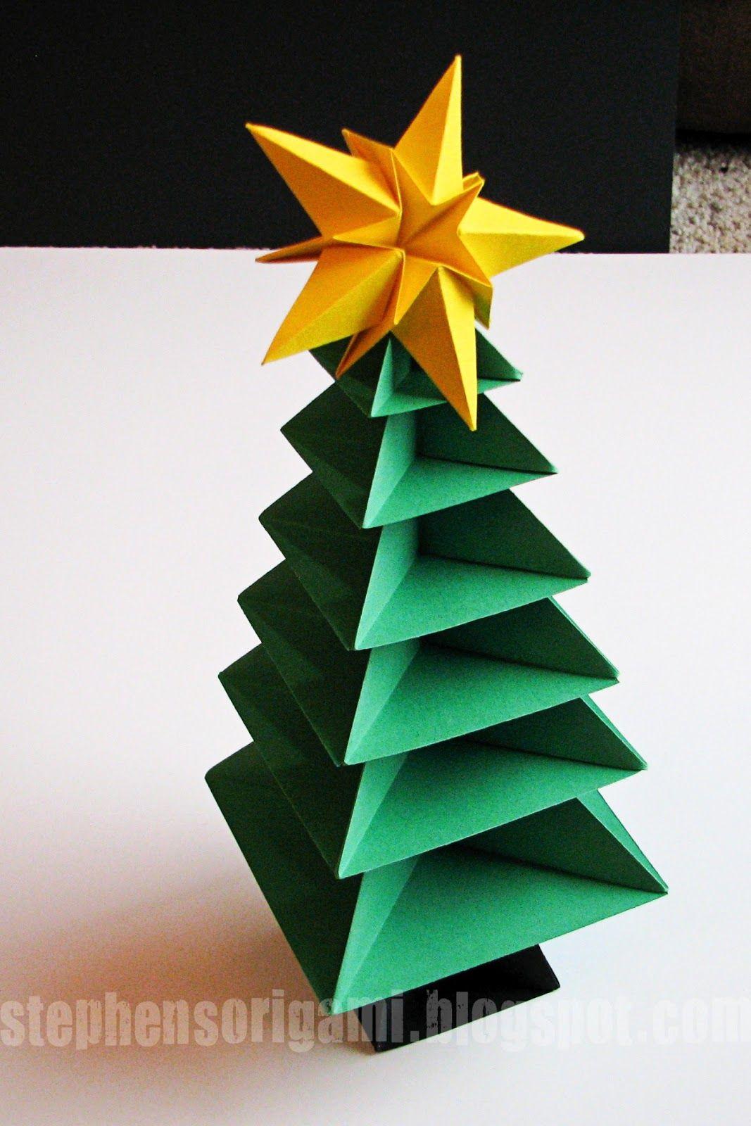 Stephen S Origami Origami Christmas Tree Tutorial Origami Christmas Tree Christmas Origami Paper Christmas Decorations