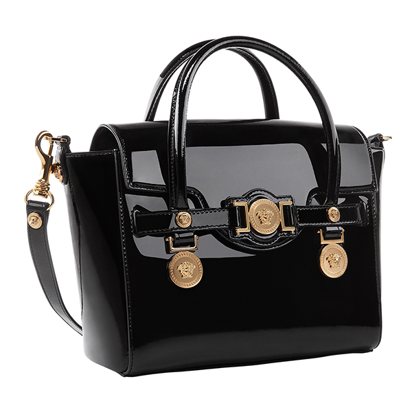 b8e1eabe25c9 Highlight the new season s look with the glam  VersaceSignature bag in  patent leather.  Versace