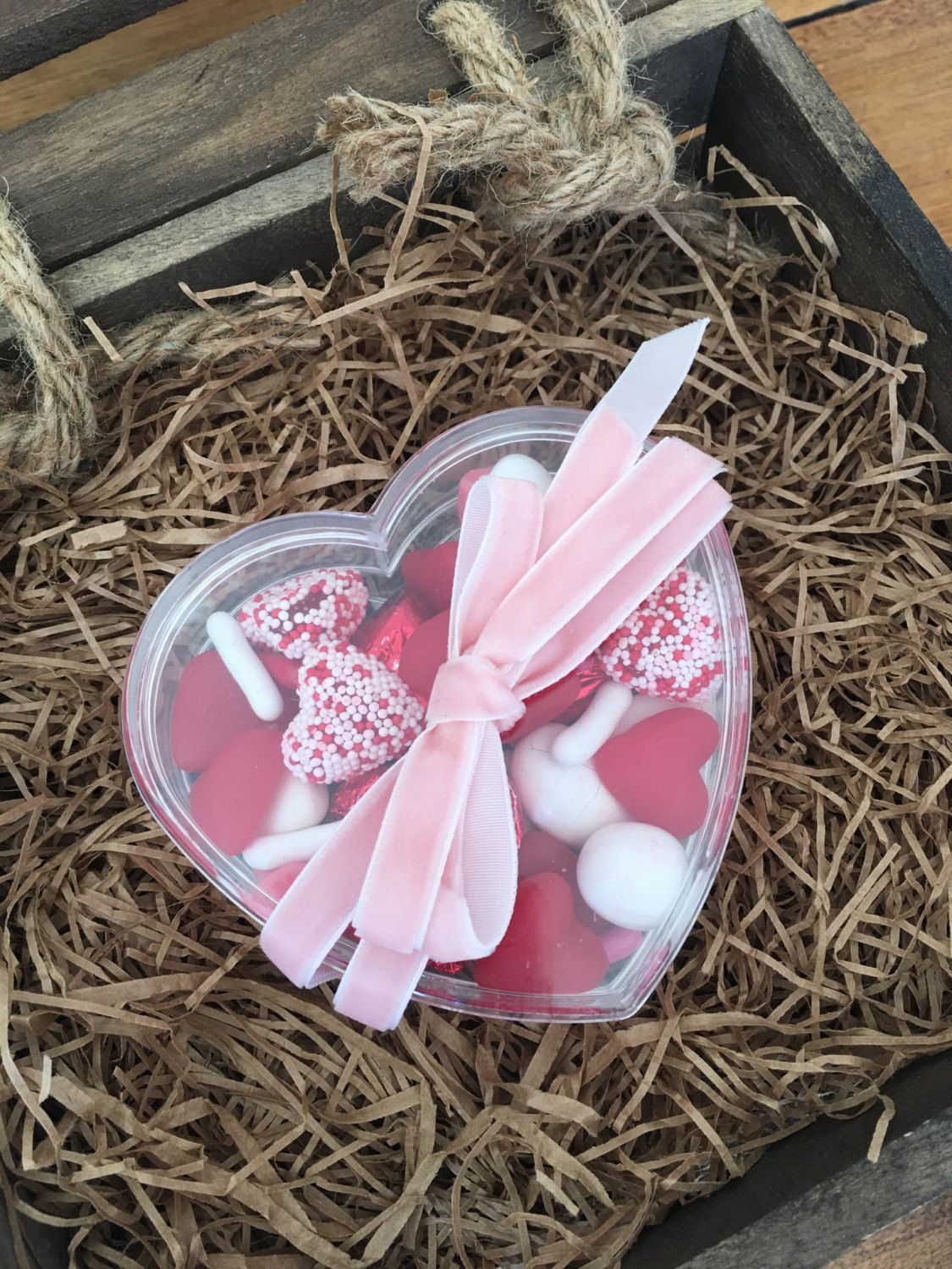 Small heart container filled with Assorted Valentine Candy Mix by PoppinsandPost on Etsy