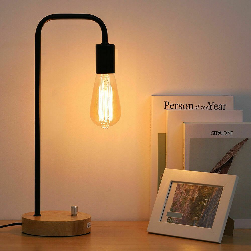 New Modern Black Wooden Table Lamp Iron Desk Lamp For Study Bedroom Home Decor Bedroom Lamps Ide Industrial Table Lamp Wood Desk Lamp Beautiful Table Lamp