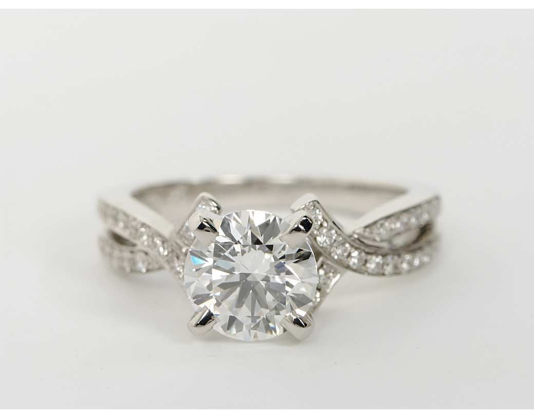 Intertwined Pavé Diamond Engagement Ring in 18k White Gold (1/4 ct ...
