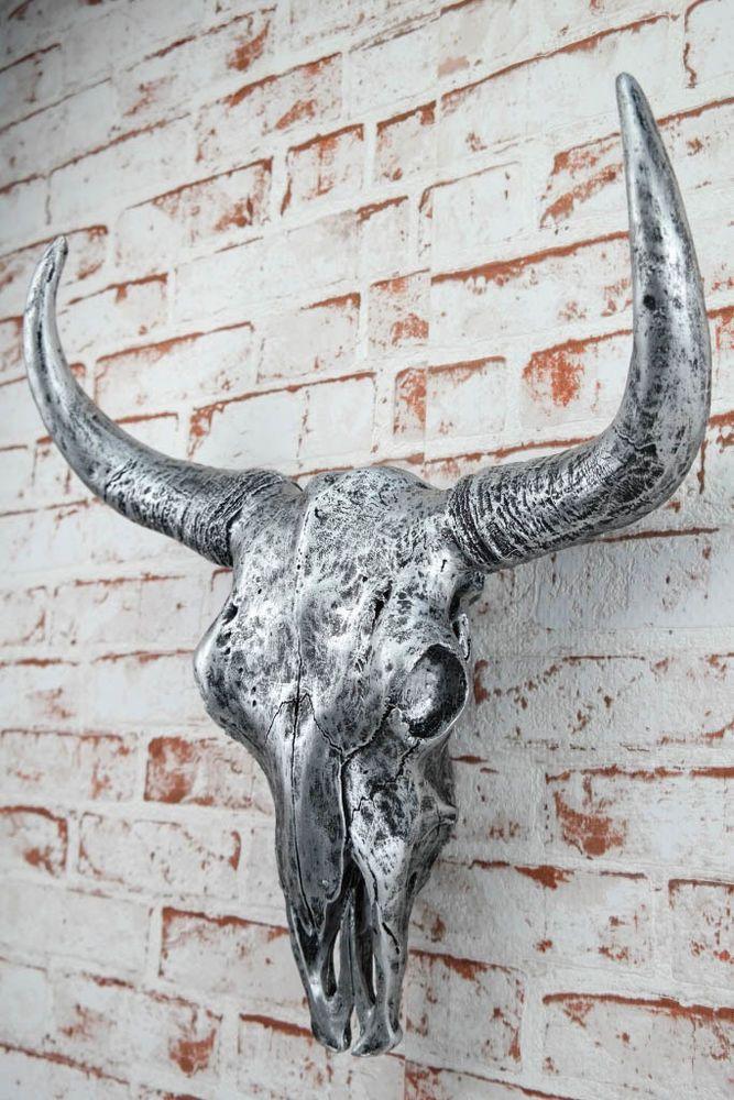Deko sch del silber stierkopf skullptur 46 cm geweih stier for Wohnzimmer dekoration silber