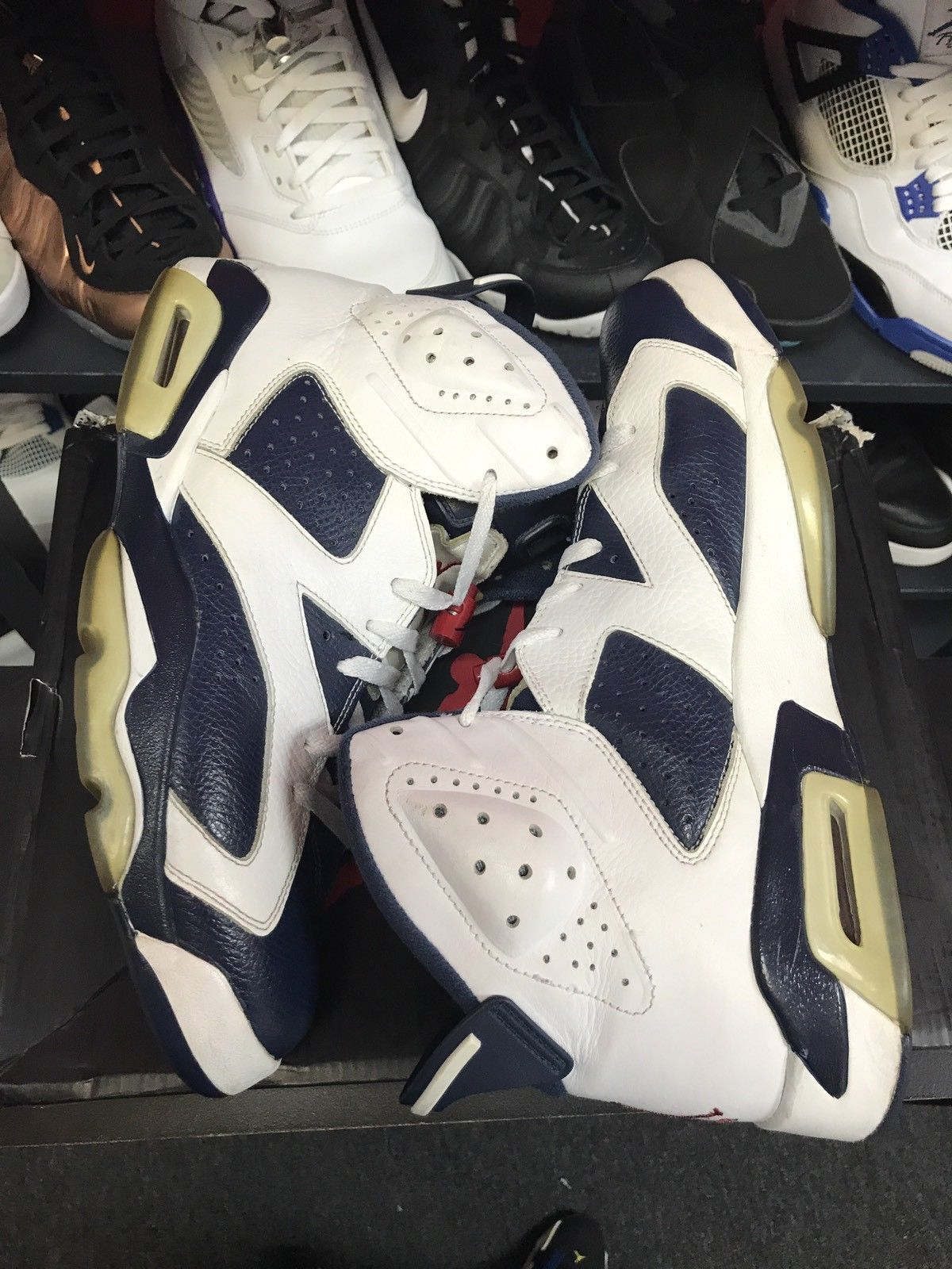 5a033e34bf71 Nike 2012 Air Jordan 6 VI Retro Olympic Navy Red 384664-130 Blue White