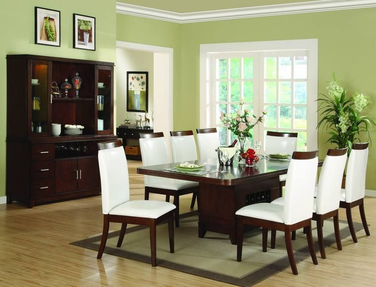 Beautiful green paint colors for dining room with brown table and ...