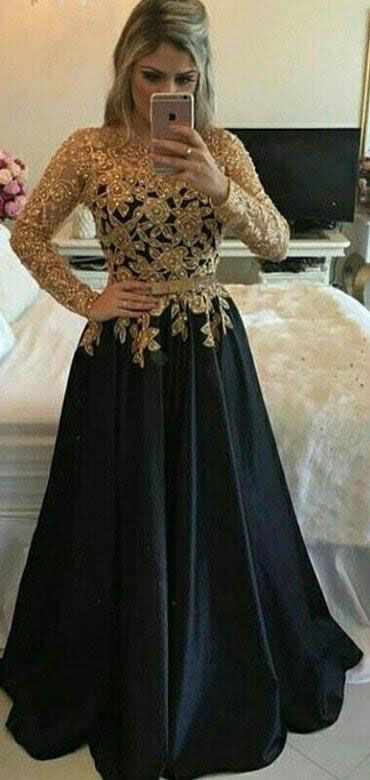 Modest Black And Gold Long A Line Long Sleeves Lace Prom Gowns