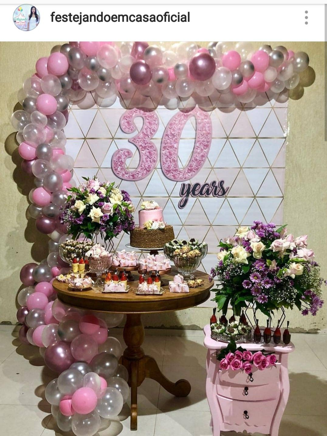Pink Silver And White 30th Birthday Dessert Table And Decor
