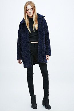 special for shoe good selling low price Cooperative Teddy Coat in Navy | Teddy coat, Urban ...