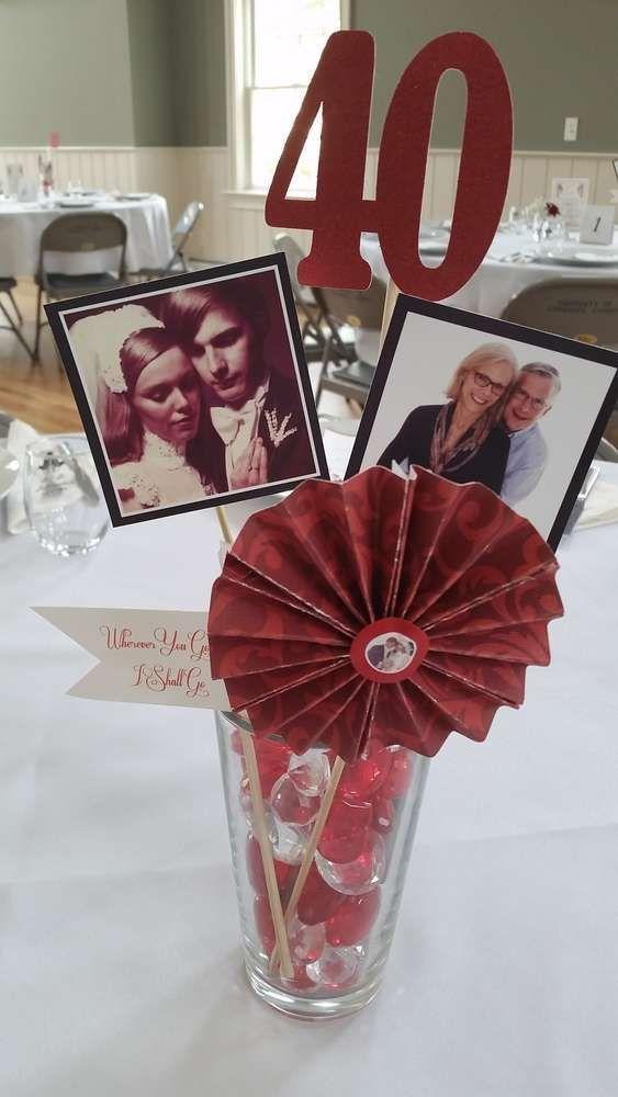 DIY centerpieces for 40th wedding anniversary party 40 jaar