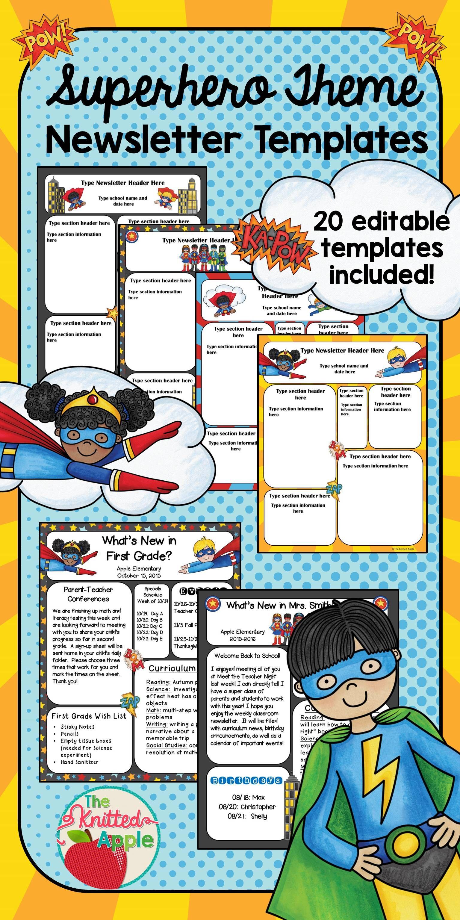Superhero Themed Newsletter Templates  Newsletter Templates