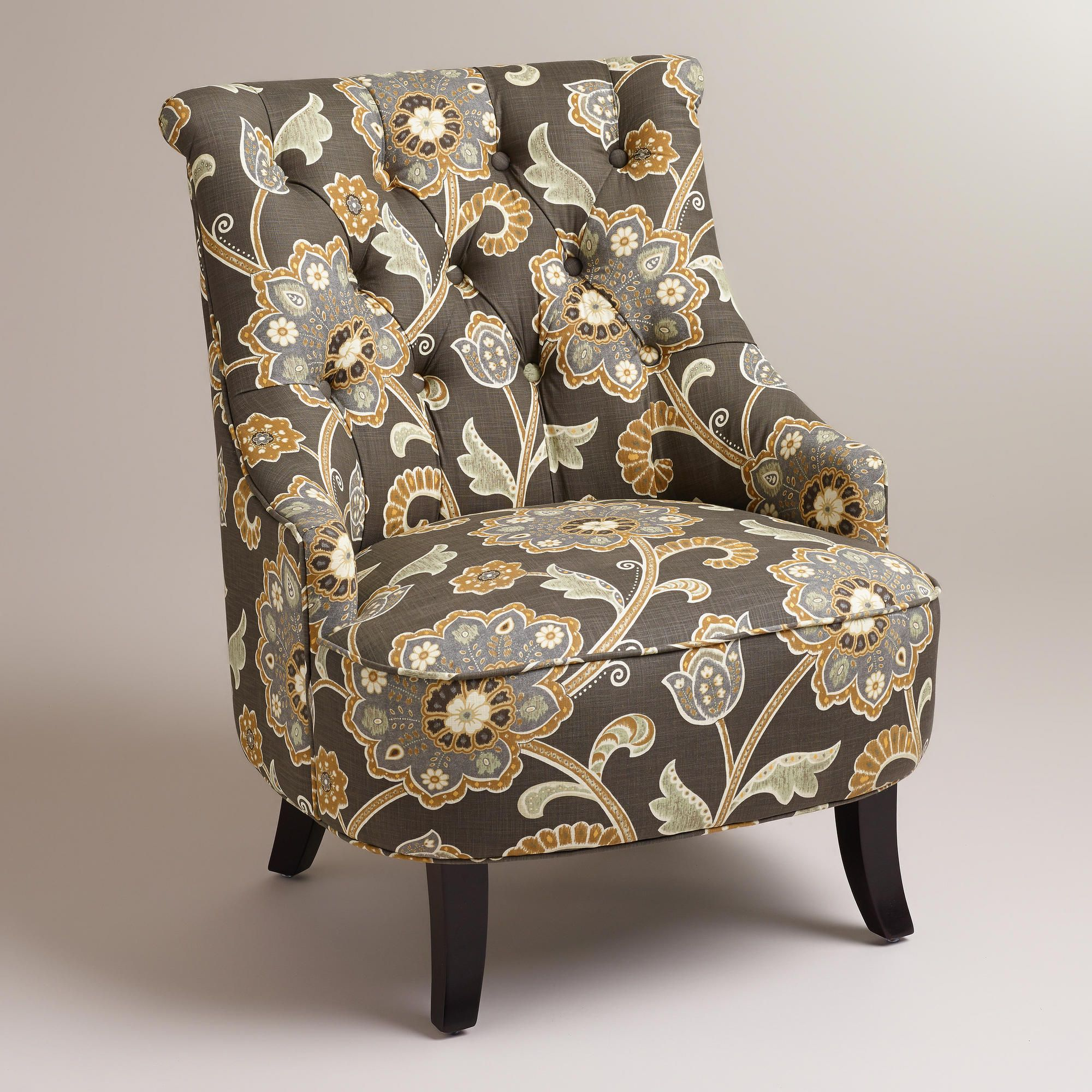 Gray Floral Erin Chair