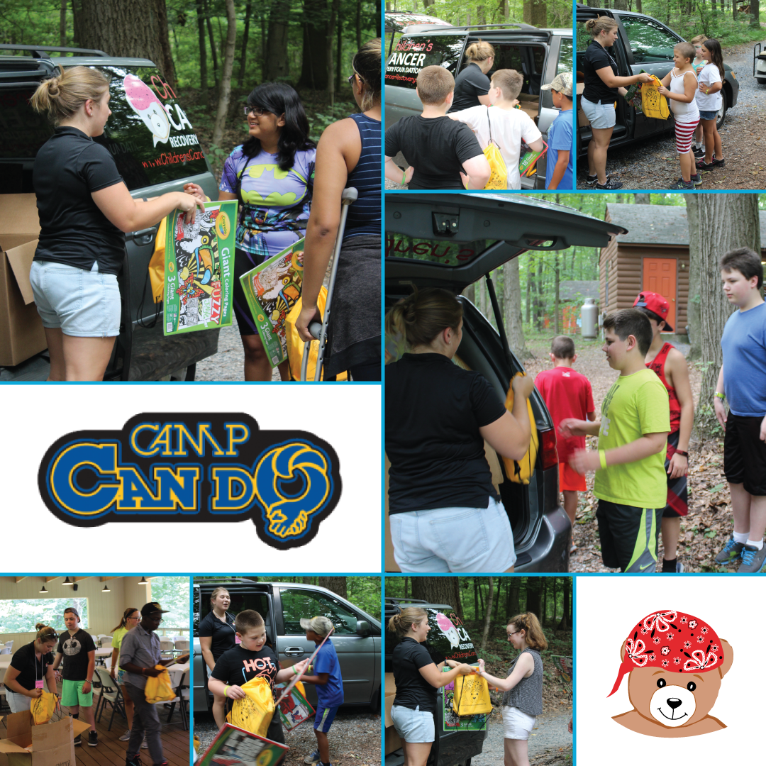 CCRF delivered Bear-Able Gift Bags full of toys to campers attending Camp Can Do in Mt. Gretna, PA! Camp Can Do serves children who have been diagnosed with cancer, and allows the kids to be themselves, have fun, and forget about their cancer diagnosis. #CampCanDo #CCRF #BearAbleGifts #CampScholarships