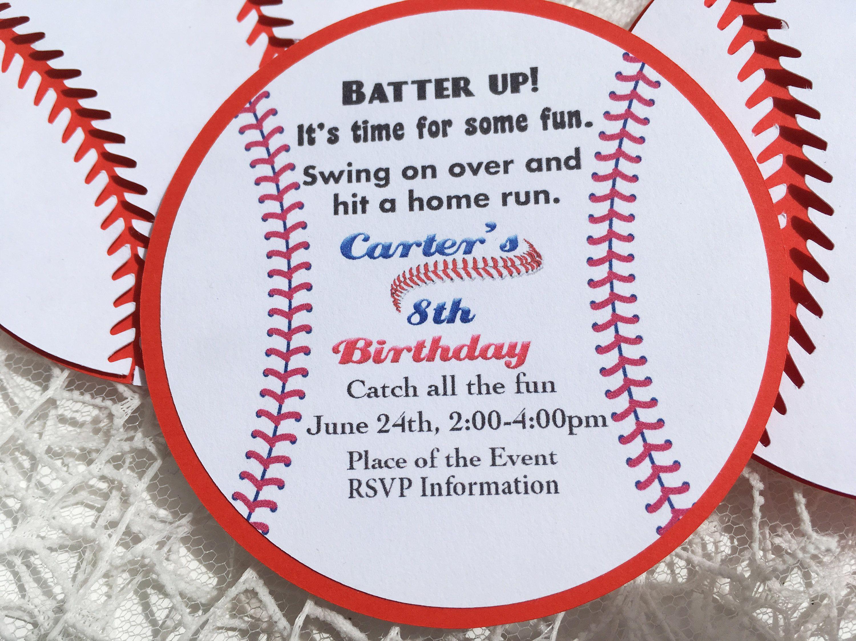 baseball birthday party invitation handmade party invitation ball