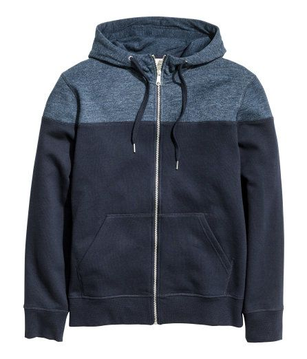 Check this out! Soft sweatshirt jacket with a jersey-lined, drawstring hood  and