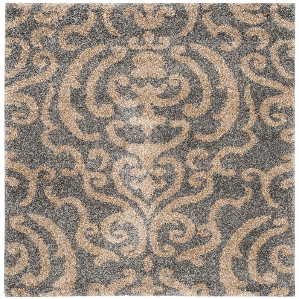 Safavieh Florida Shag Cream Beige 2 Ft X 7 Ft Runner Rug Sg462 1113 27 The Home Depot Square Area Rugs Area Rugs Damask Rug