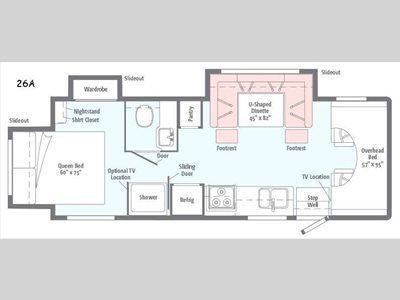 Floorplan 2017 Winnebago Minnie Winnie 26a Winnebago Minnie