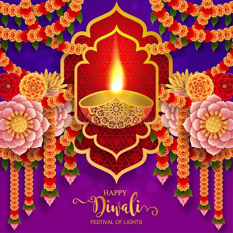 Happy Diwali Festival Card . Stock Vector - Illustration of feathers, ethnicity: 128648383