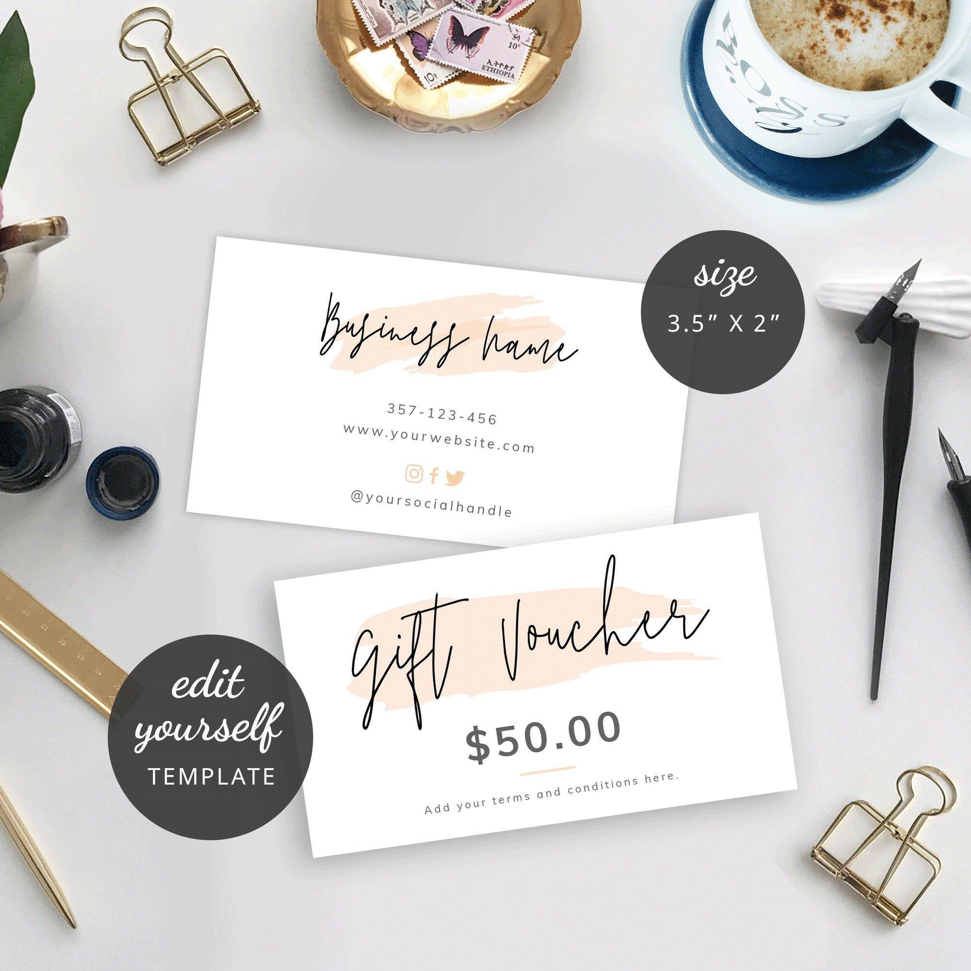 Mini Gift Voucher Template Editable Gift Card Design Small Etsy Gift Voucher Design Gift Card Design Voucher Design