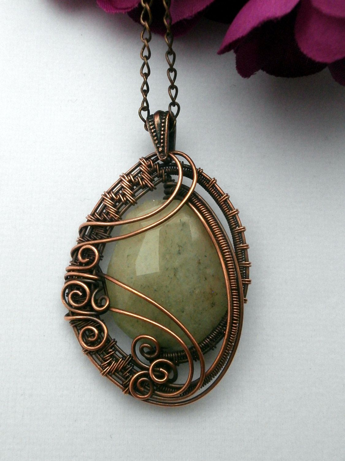 Wire Wrapped Pendant Necklace Yellow Quartz in Copper Wire jewelry