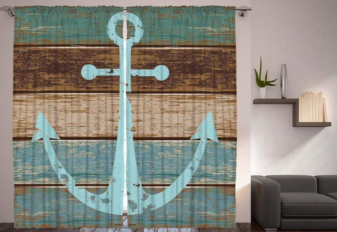 Anchor On Rustic Wood Curtain Panel Set Of 2