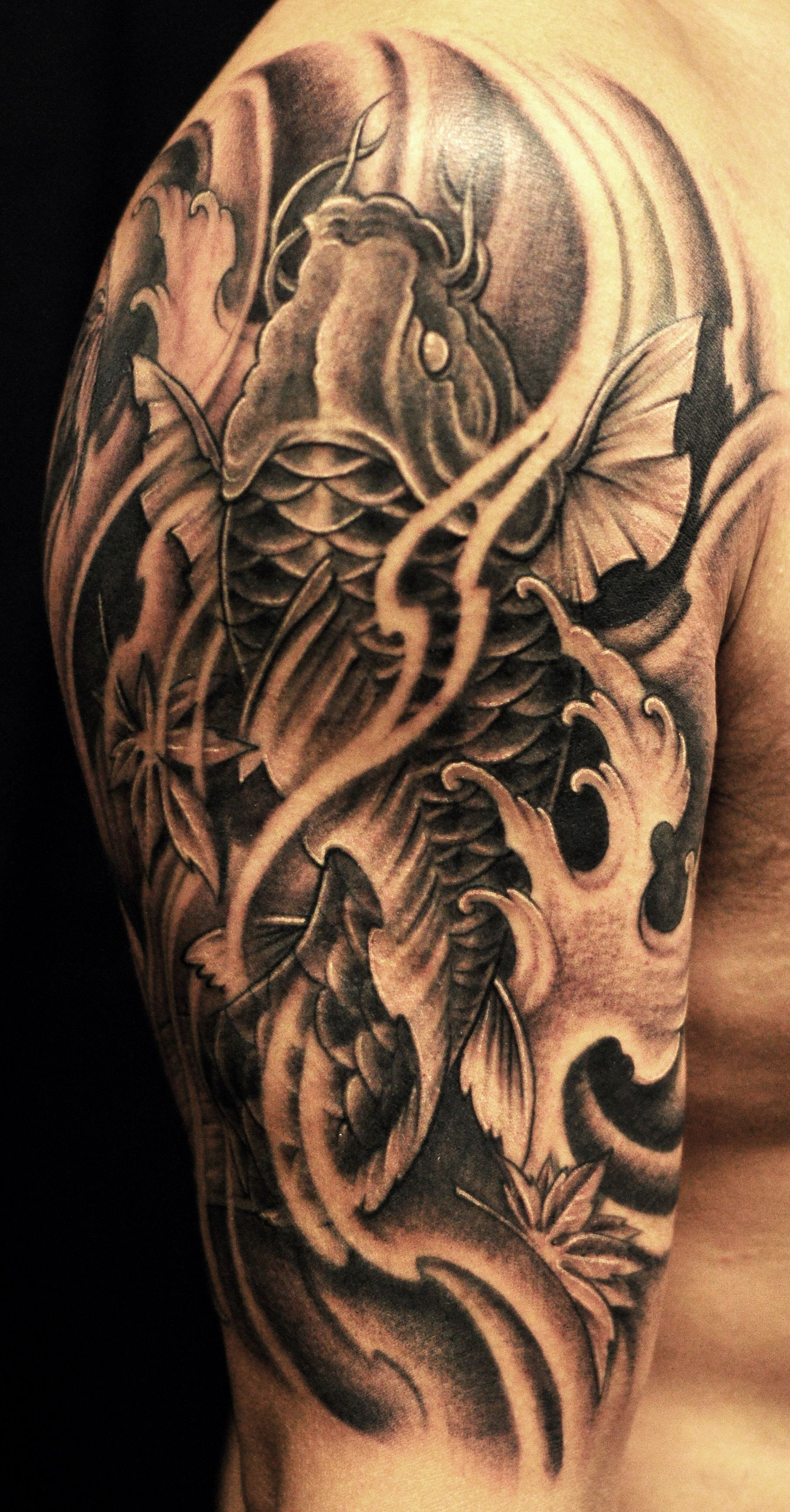 65 Japanese Koi Fish Tattoo Designs Meanings: Half Sleeve Black And Grey Koi Fish Tattoo