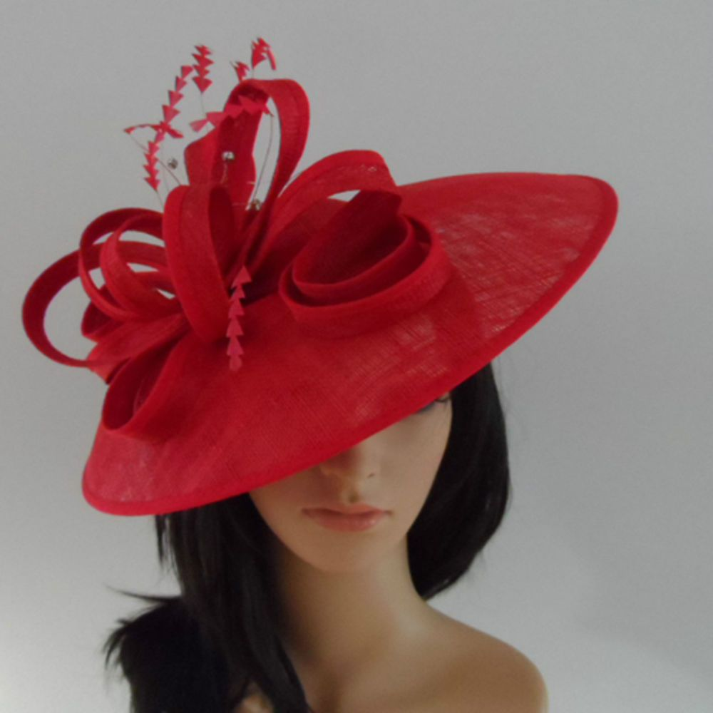 Failsworth Poppy Red Wedding Ascot Hat Disc Fascinator