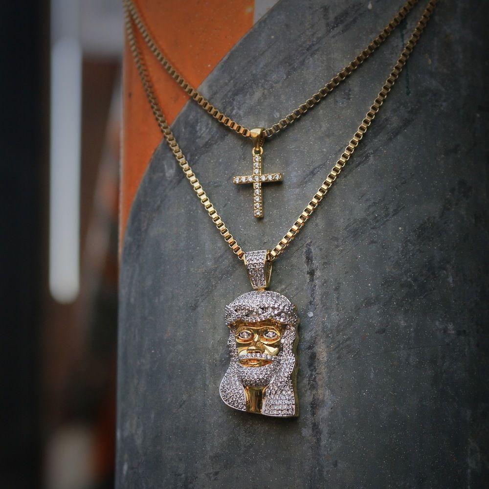 ee5ed8ab5700e Mens Gold Mini Micro Jesus Piece And Cross Combo Set   Hip hop ...
