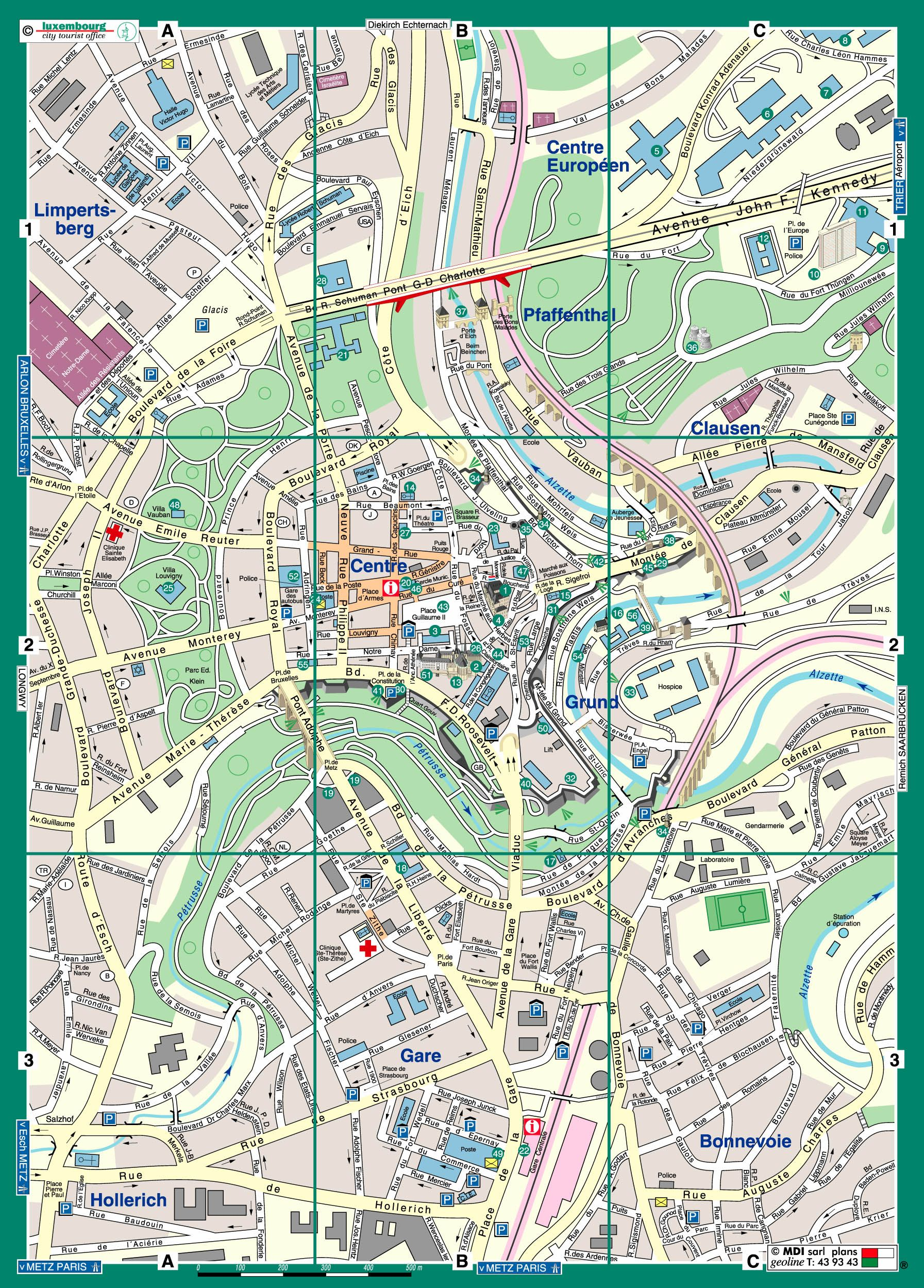 Tourist Map Of Luxembourg City Tourist Map Tourist Attraction Tourist