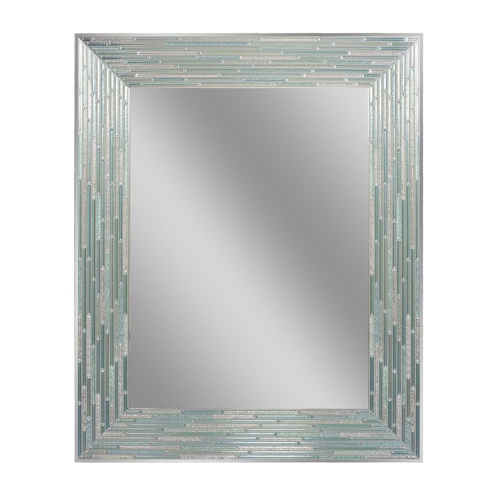 Deco Mirror 30 In L X 24 In W Reeded Sea Glass Wall Mirror 1205
