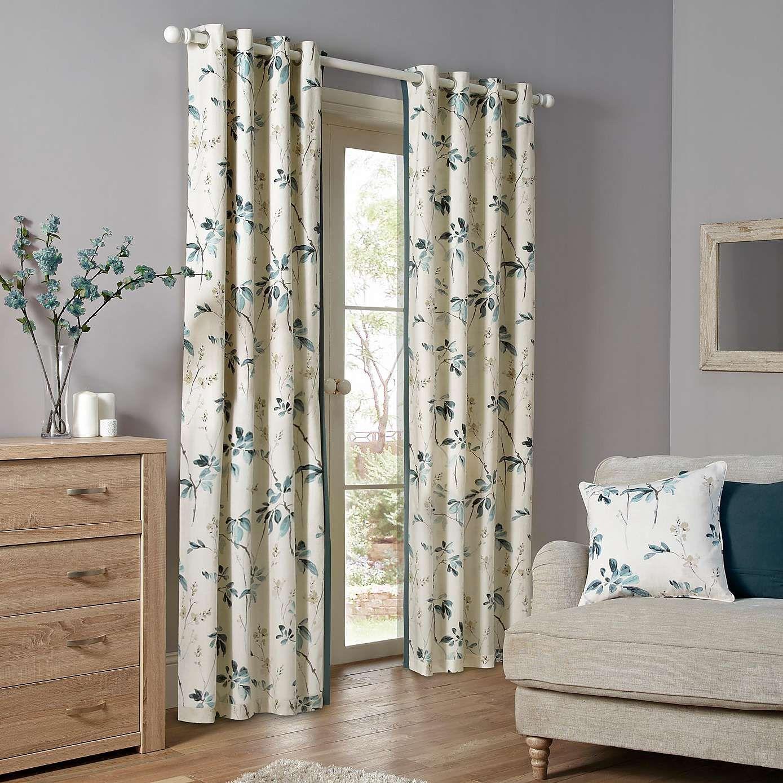 Oriental Burst Teal Lined Eyelet Curtains Dunelm Bedroom In