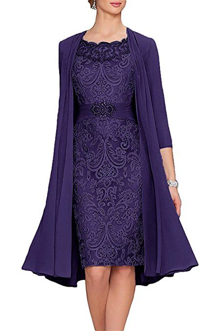 ab48fc27237 APXPF Women s Tea Length Mother Of The Bride Dresses Two Pieces With Jacket  at Amazon Women s Clothing store
