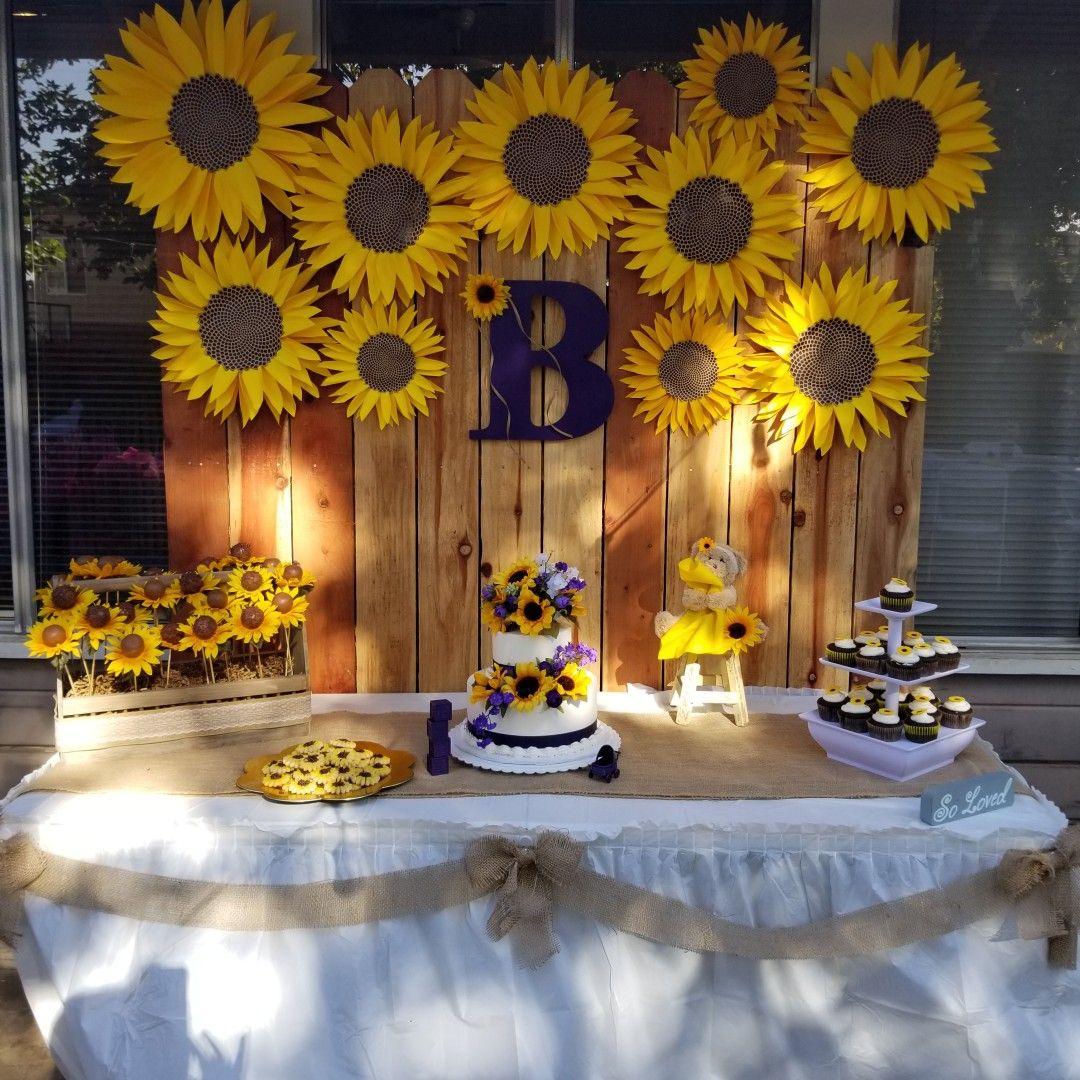 My dessert table in 2019 Unisex baby shower, Sunflower