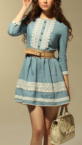 The antique blue just goes so well with the lace trim.