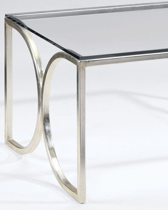 Rectangular Hand Wrought Iron Coffee Table With Lightly Antique Silver Leaf  Finish And Clear Glass Top | Coffee Tables | Silver Coffee Tables