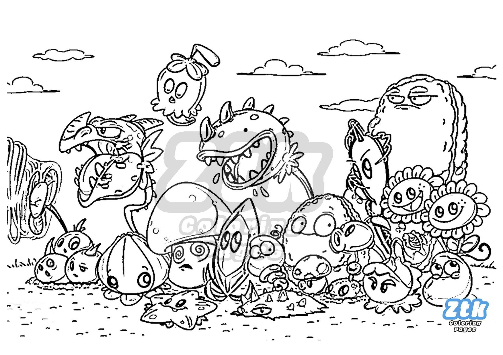 Plants vs Zombies to paint Ztk Coloring Pages | Dibujos ...