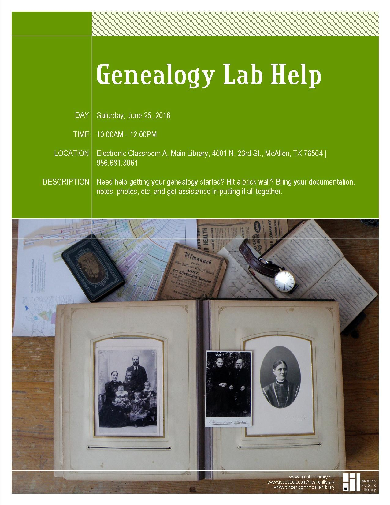 Genealogy Lab Help Main Library Saturday June 25