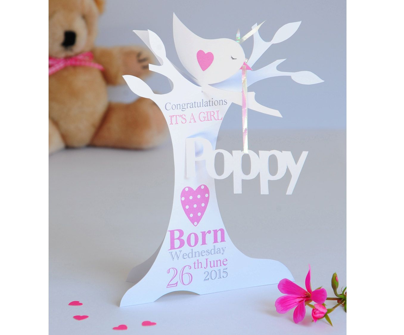 VERY UNUSUAL 1ST BIRTHDAY 3D CARD TOPPER GIRL
