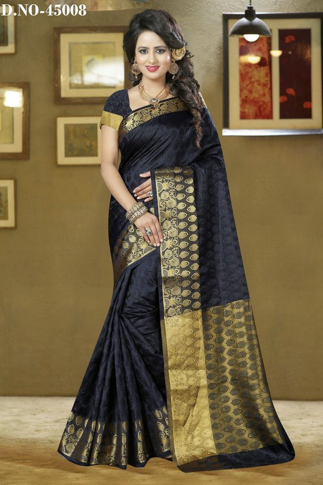 2163efff16cf4d Banarasi Silk Sari Indian Bollywood Ethnic Designer Party Wear Saree Blouse  Dres  Shoppingover  SariSaree
