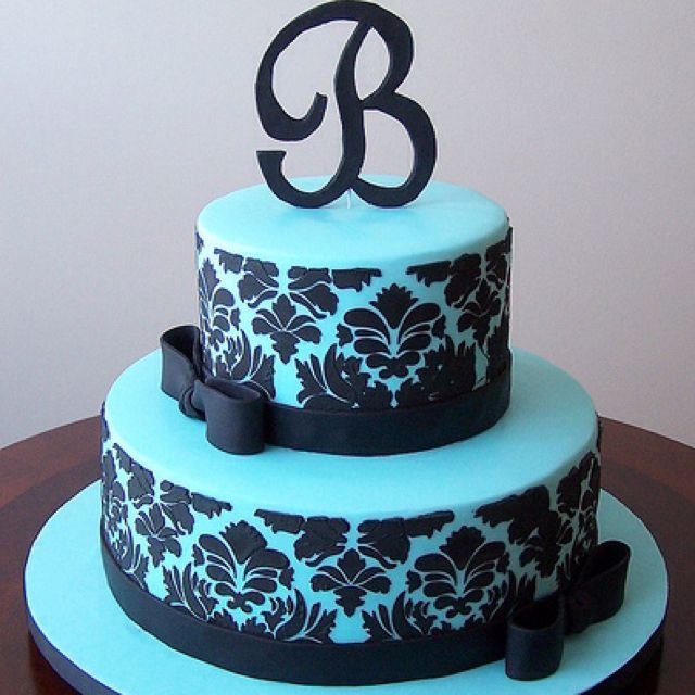 Tiffany blue and black damask cake Sweet 16 Cake and Girls